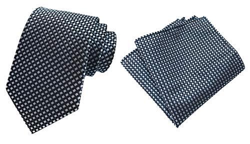 (MOHSLEE Men's Black White Polka Dots Silk Necktie Handkerchief Pocket Square Set)