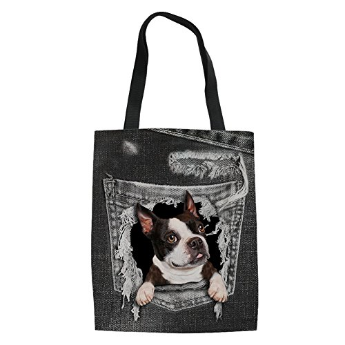 ton Canvas Tote Bags Pocket Boston Terrier Pattern Shopping Handbag Travel Bag ()