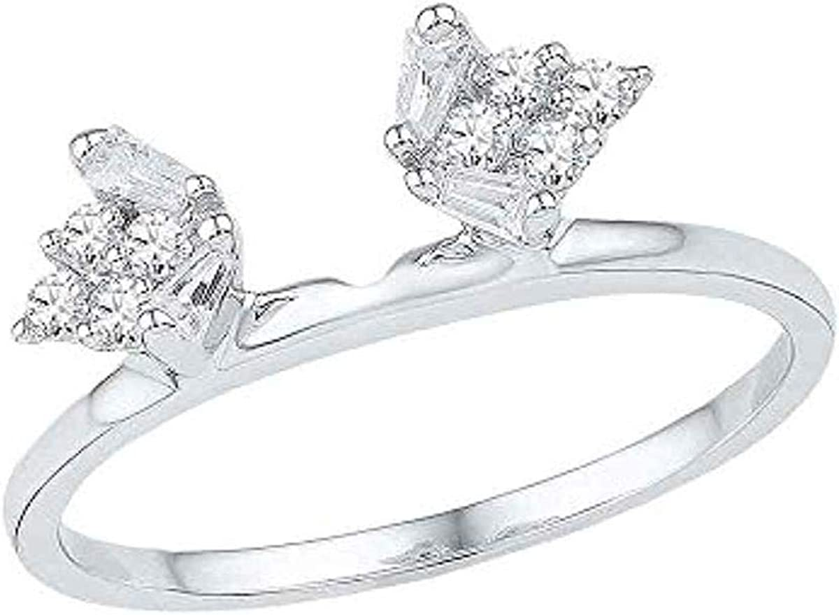 Roy Rose Jewelry 14K White Gold Womens Baguette Diamond Ring Guard Wrap Solitaire Enhancer 1/4-Carat tw