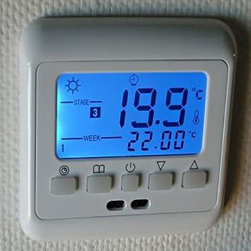 H3 16A azul pantalla LCD termostato