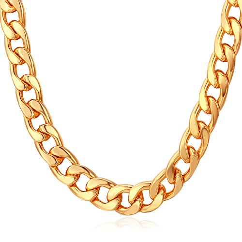 U7 Men Big Chain 18K Stamp Hip Hop Jewelry Punk Gold Plated Necklace 7MM Classic Cuban Curb Chain - 20 Inch -