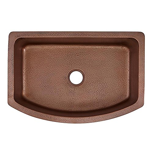 Pinnacle Apron Bow Front Custom Handmade Solid Copper 25 x 22 x 9 Single Bowl Farmhouse Kitchen Sink ()