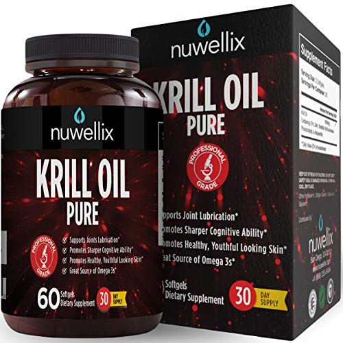 Nuwellix Krill Oil Supplement with Omega 3 EPA, DHA and Antaxanthin – Promotes Joint Lubrication and Youthful Looking Skin – High Potency – 60 Softgels