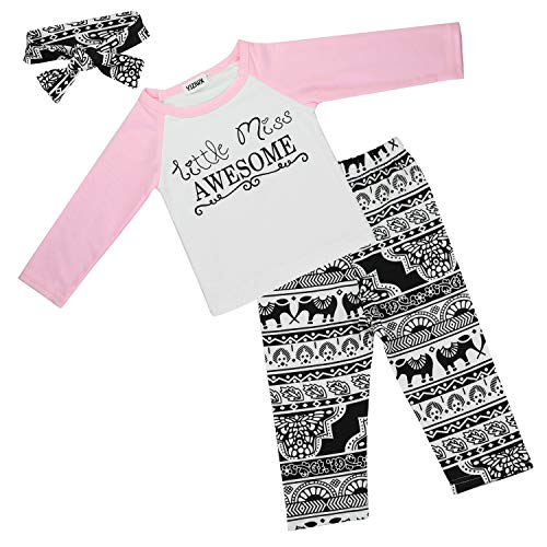 Baby Girl Outfits Set Letter Long Sleeve Tops T-shirt and Pants with Headband 2T/3T ()