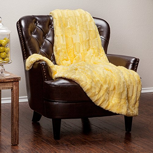 Best Buy! Chanasya Super Soft Fuzzy Faux Fur Elegant Rectangular Embossed Throw Blanket | Fluffy Plush Sherpa Microfiber Sunny Yellow Blanket for Bed Couch Living Room Fall Winter Spring (50×65) – Yellow