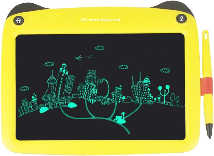 Entweg Writing Tablet,9 Inch LCD Writing Tablet Untra-thin Electronic Graphics Drawing Board Cute Handwriting Pad with Stylus Erase Lock Button