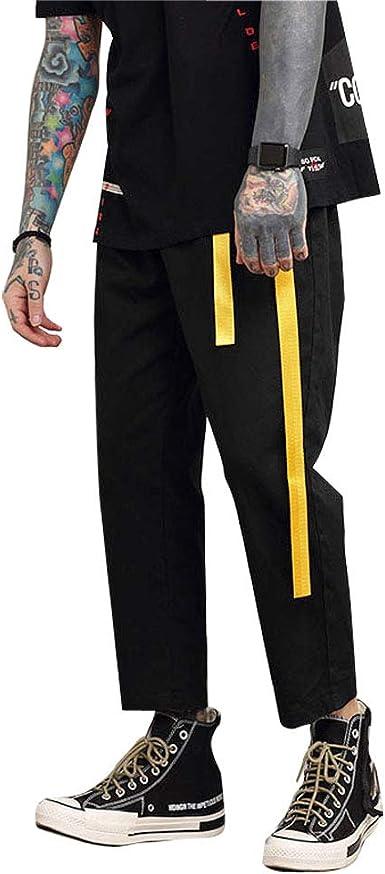 Domple Mens Fashion Hip Hop Loose Elastic Waist Baggy Wide Leg Capri Pants