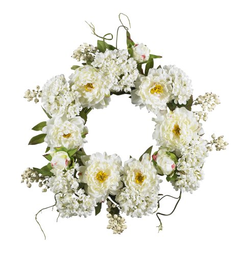 White Artificial Wreath - Nearly Natural 4690 Peony Hydrangea Wreath, 20-Inch, White