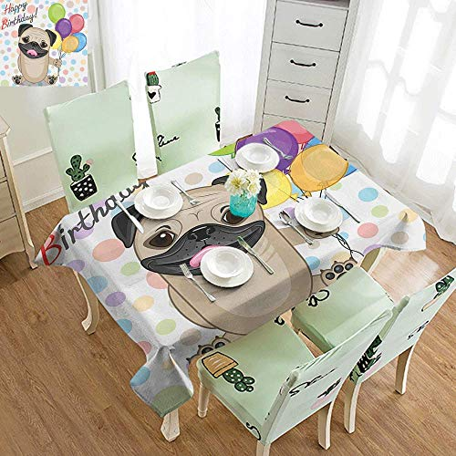 DILITECK Waterproof Tablecloth Kids Birthday Animal Cute Dog Smiling Pug with Party Balloons Greeting Card Inspired Design Table Decoration W60 xL102 Multicolor