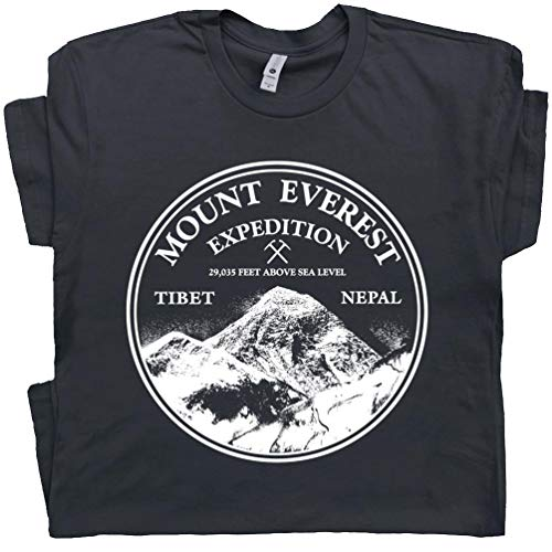 L - Mount Everest T Shirt Expedition Tee Shirts Mountain Rock Climbing Mountains are Calling Graphic Black