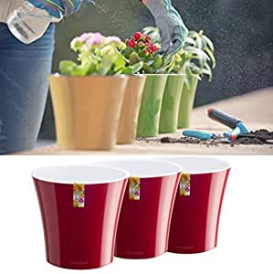 Santino Self Watering Planters Arte 6.5 Inch Red-Pearl/White Flower Pots Set of 3