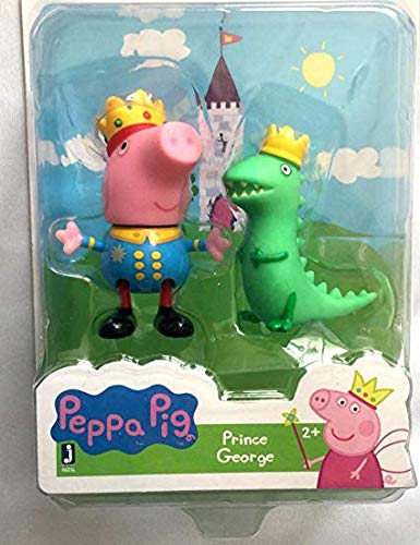 Peppa Pig Friends and Fun Prince George and Mr. Dinosaur Wearing Royal Crowns Fun Toy Figures -