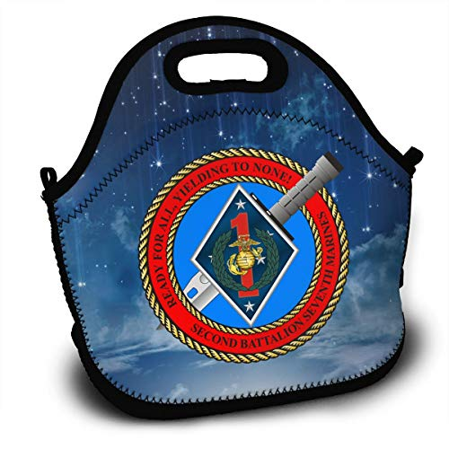 (2nd Battalion, 7th Marines Decal Stiker Lunch Bag Tote Lunchbox With Handle Strap)