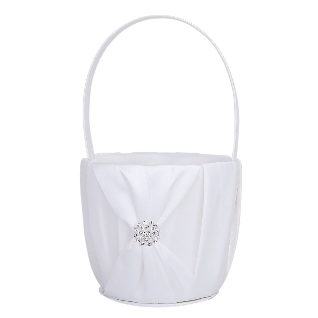 Gleader 1 x Wedding Flower Girl Basket Satin Rhinestone Decor---White