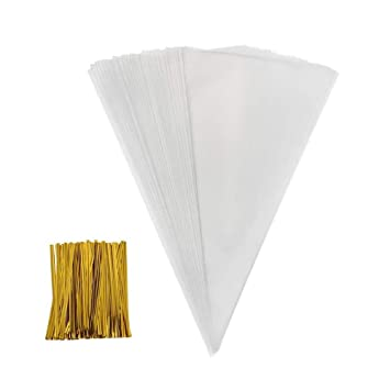 GooGou 200 PCS Cone Shaped Treat Bags Clear Triangle Bags with 200 PCS Gold Twist Ties for Holiday Wedding Christmas Birthday and Party(7.1 x 14.6in)