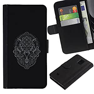 A-type (Lobo gris Búho Native Indian Pattern) Colorida Impresión Funda Cuero Monedero Caja Bolsa Cubierta Caja Piel Card Slots Para Samsung Galaxy S5 Mini (Not S5), SM-G800