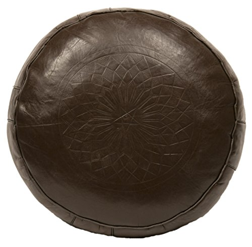Casablanca Market Moroccan Solid Cotton Stuffed Leather Pouf/Ottoman, Brown from Casablanca Market
