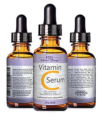 DOUBLE SIZED (2 oz) PURE VITAMIN C SERUM FOR FACE 20% Pure Vegan Hyaluronic Acid Anti Wrinkle, Anti Aging & Repairs Dark Circles, Age Spots & Sun Damage Vitamin C Super Strength Organic Ingredients