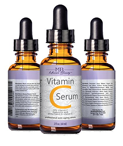 51TnaTU5H2L - DOUBLE SIZED (2 oz) PURE VITAMIN C SERUM FOR FACE 20% With Hyaluronic Acid - Anti Wrinkle, Anti Aging, Dark Circles, Age Spots, Vitamin C, Pore Cleanser, Acne Scars, Organic Vegan Ingredients
