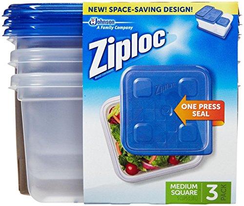 Ziploc Container, Medium Square - 40 oz - 3 ct (Containers Ziploc Storage)