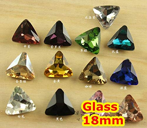 Kamas 27Colors 18mm 132pcs/Lot Triangle Glass Crystal Fancy Stone For Jewelry Making/Wedding dress - (Color: Emerald 132pcs)