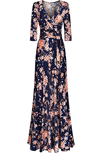 Bon Rosy Women's Silky and Stretchy 3/4 Sleeve Deep V-Neck Peony Printed Maxi Faux Wrap Dress Navy S (Long Peony Dress)