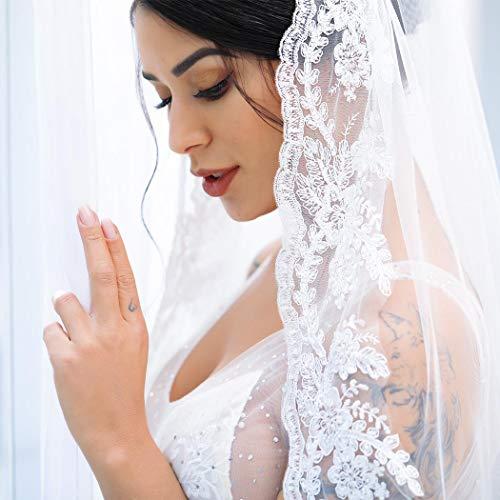 - Aukmla Lace Wedding Veil Fingertip Lace Veil Vintage Inspired Rose Lace Veil Partial Lace Veil Lace at Chest Bridal Veil Hand Made (White)