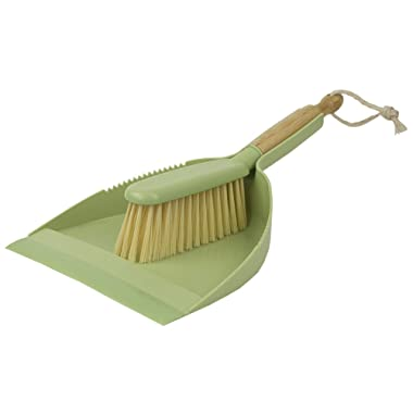 Home Basics Bliss Collection Bamboo Cleaning Supplies, Green (Brush and Dustpan)