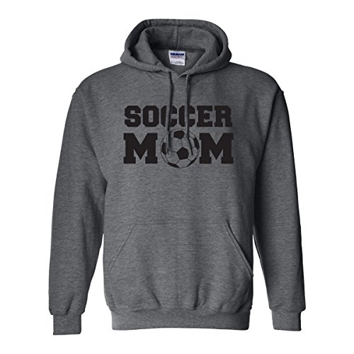 zerogravitee Soccer Mom Adult Hooded Sweatshirt in Dark Heather with black text - Medium