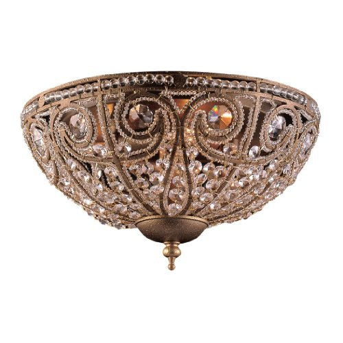 1 Elizabethan 1 Light - Elk Elizabethan 3-Light Flush-Mount Ceiling Fixture, Dark Bronze