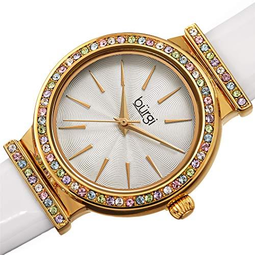 Burgi BUR243 Designer Women's Watch - Genuine Patent Leather Strap, Swarovski Colored Crystal Studded Bezel, Fine Guilloche Pattern Dial (Perfect White)