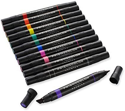 Prismacolor 3620 Premier Double-Ended Art Markers, Fine and Chisel Tip, 12  Pack