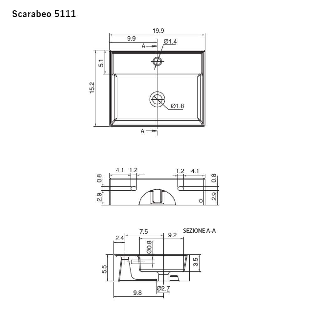 Three White Scarabeo 5111-Three Hole Bathroom Sink