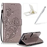 Wallet Case for Huawei P9,Strap Portable Leather Case For Huawei P9,Herzzer Stylish Bling Diamonds Gray Butterfly Embossed Pu Leather Purse Pouch Magnetic Closure Flip Folio Protective Case