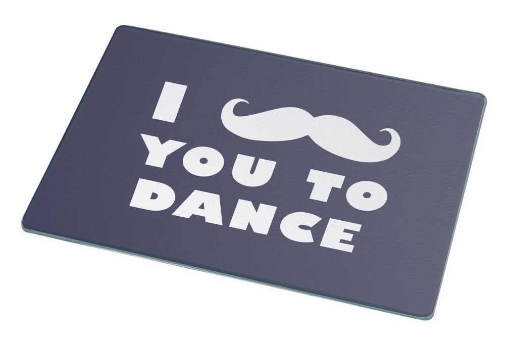 Rikki Knight I Mustache You To Dance Blue Color Large Glass Cutting Board