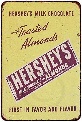 - Jackgold Living Recorder Sign , New Tin Sign Aluminum Retro Hershey S Milk Chocolate with Almonds Metal Sign 8 X 12 Inch, Chocolate Bar Poster