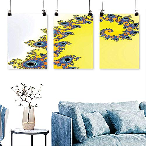 (SCOCICI1588 3 Panel Canvas Wall ArtSeahorse Pattern with Vortex Turning Swirled Petals Fantasy New Image Earth Yellow Blue Print On Canvas No Frame 16 INCH X 30 INCH X)