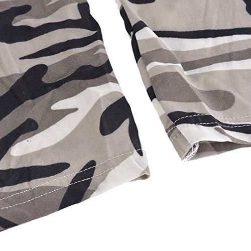Maxi Lacets Longues Gris Femmes Shirt Couleur Col Profond Camouflage Manches Aelegant Sexy T Ajuste V 6Rq6PI