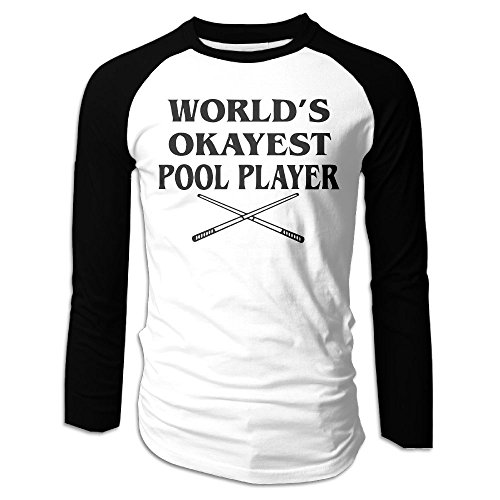 SuperBlu World's Okayest Pool Player Mens Long Sleeve Raglan Tshirt Black XL