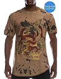 Mens Hipster Hip Hop Tiger Graphic Print W/ Hi-Low Hemline T-Shirt