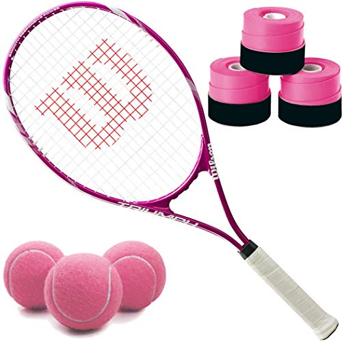 (Wilson Triumph Pre-Strung Recreational Tennis Racquet Set or Kit Bundled with Pink Overgrips and a Can of Pink Tennis Balls)