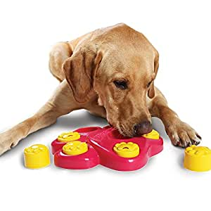Efanr Multifunction Dog Puzzle Toys 7 Hole Large Footprint Dogs Educational Toys Pet Treasure Food Hunt Bowl Discipline Toy Effective Exercise Pet Smell and Feeding Ability