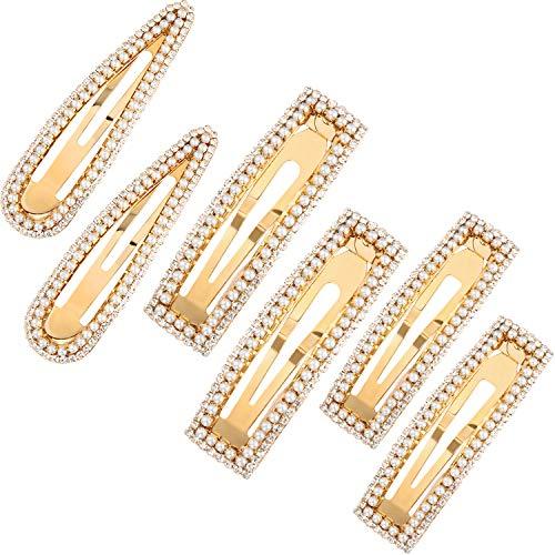 Pin Snap - 6 Pieces Artificial Pearl Rhinestone Hair Clips Handmade Hair Barrettes Snap Hair Pins for Women Girls