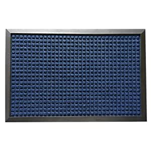 "Rubber-Cal 03-200-ZWBL ""Nottingham"" Rubber Backed Carpet Entry Indoor Doormat, 2' x 3', Blue"