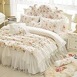 LELVA Girls Bedding Set Lace Ruffle Duvet Cover Princess Bedding Set Vintage Floral Print Duvet Cover Twin Full Queen King (Twin, White)