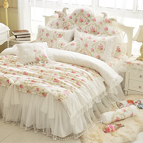 LELVA Girls Bedding Set Lace Ruffle Duvet Cover sets with Bed Skit Princess Bedding Set Vintage Floral Print Duvet Cover Full Size 4 Piece (Full, (Floral Print Quilt)