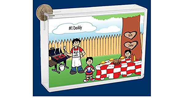 Personalized Ntt Cartoon Caricature Bank Backyard Barbeque Single Dad 2 Boys Office Products