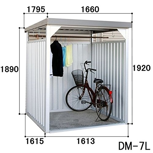 ダイマツ 多目的万能物置 DM-7L 壁パネルロングタイプ 土台寸法 間口1613×奥行1615 『自転車屋根 横雨に強いスチールタイプ』 B00G8U1TJW
