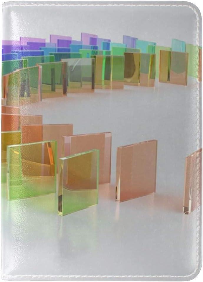 JiaoL Dominoes Transparent Render Glass Leather Passport Holder Cover Case Travel One Pocket