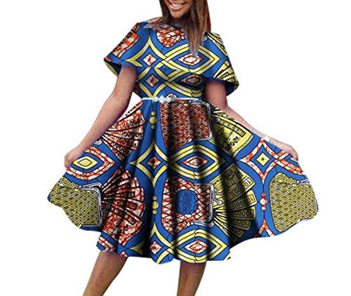 Coolred-femmes Mini-partie Imprimé Dashiki Taille Plus Africaine Taille Plissée Robe Asymétrique